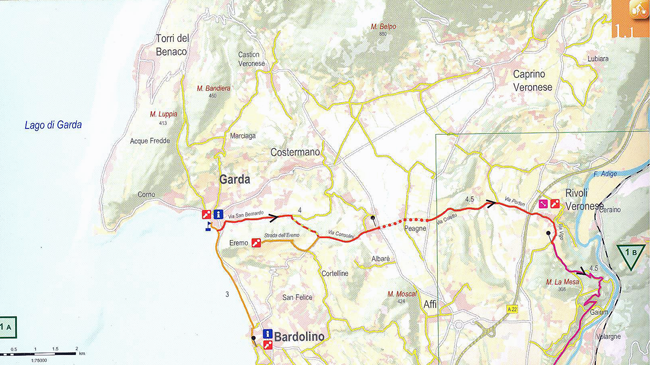 Lake Garda to Verona Route Map