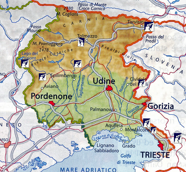 Map of rock climbing sites in the Friuli Venezia region of Italy