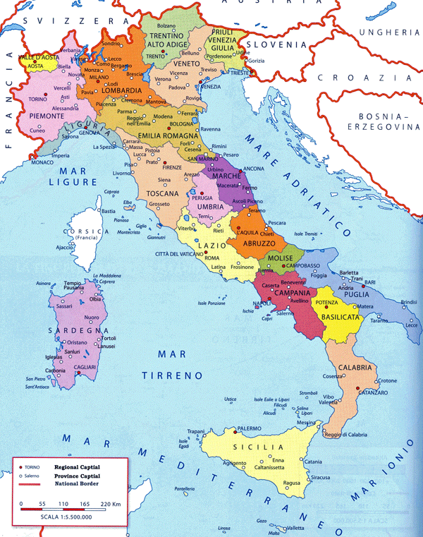 Travel guide to Italy, map of italy