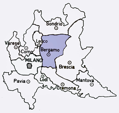 Map of the Bergamo Province of Italy