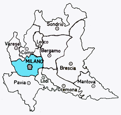 Map of hte Milano Province of Italy