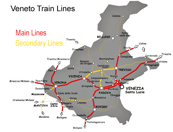 Veneto Region Train Map