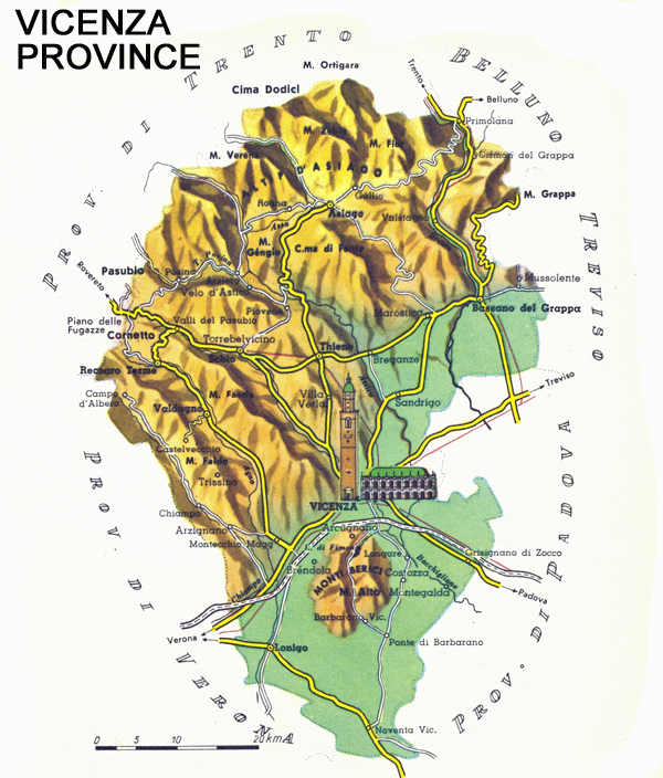 Vicenza Italy, Province Map