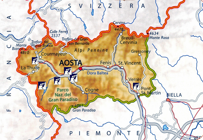 Guide to Rock Climbing Aosta Valley Italy Map