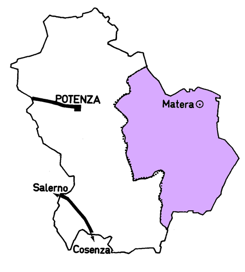 Map of the Matera Province
