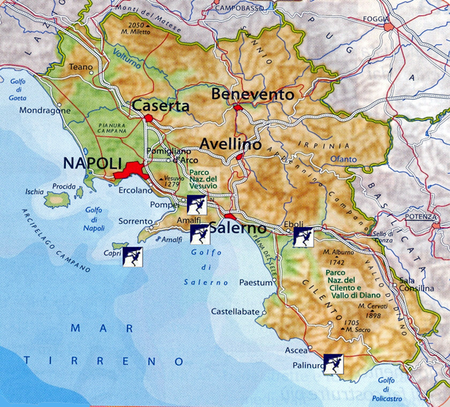 Map to rock climbing guide in the Campania Region of Italy