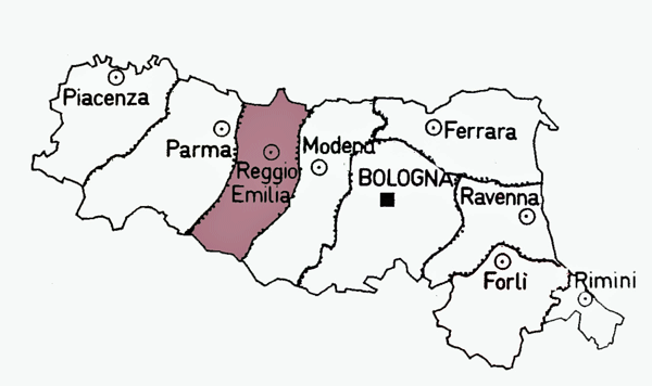 Map of Reggio Emilia Province