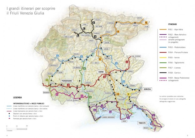 Bike Touring Map of the Friuli Venezia Region