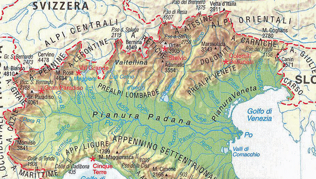 Map of the Italian Alps