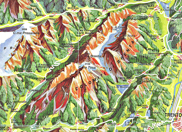 Map of Brenta Dolomites