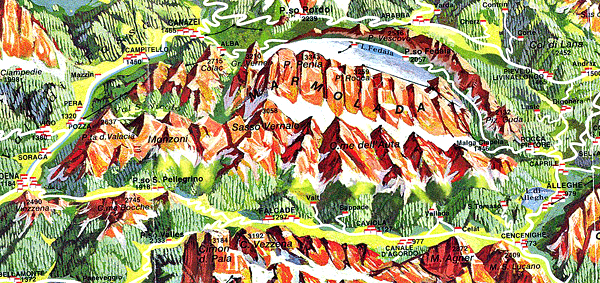 Map of Italian Dolomites