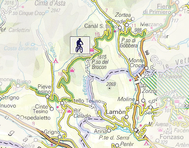 Passo Brocon, Dolomites Map