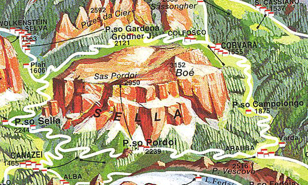 Map of the Sella Mountains