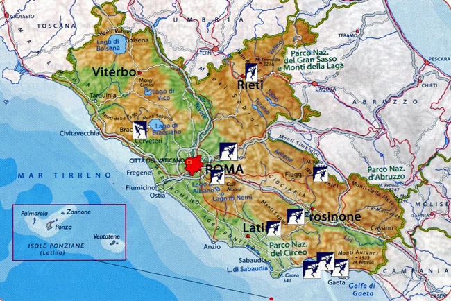 Map to rock climbing sites in Lazio Reigon Italy