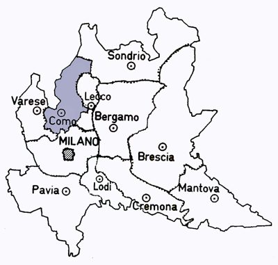 Map of the Como Province of Italy