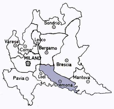 Map of the Cremona Province of Italy