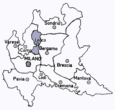 Map of the Lecco Province in the Lombardy Region, Italy