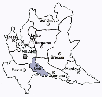 Map of the Lodi Province of Italy