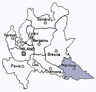 Map of the Mantova Province of Italy