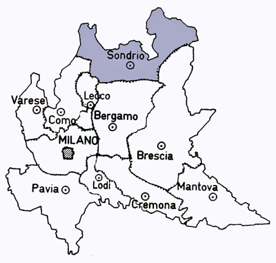 Map of the Sondrio Province of Italy