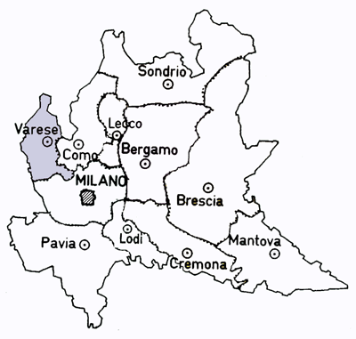 Map to the Varese province of the Lombardy Region