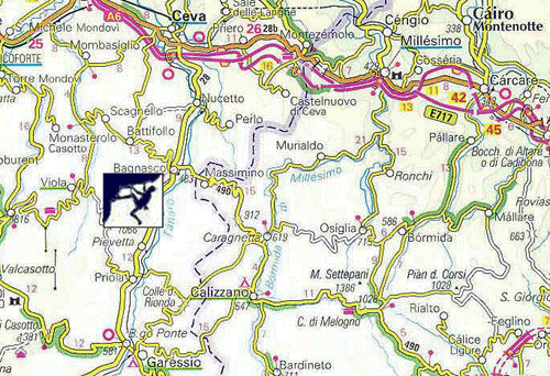 Rock Climbing Italy, Bagnasco Climbing Map