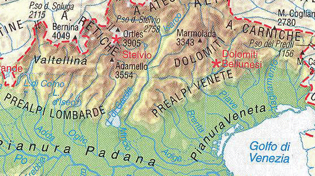 Italian Prealps Mountains Map