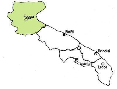 Map of the Foggia Province