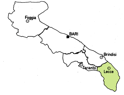 Map of the Lecce Province