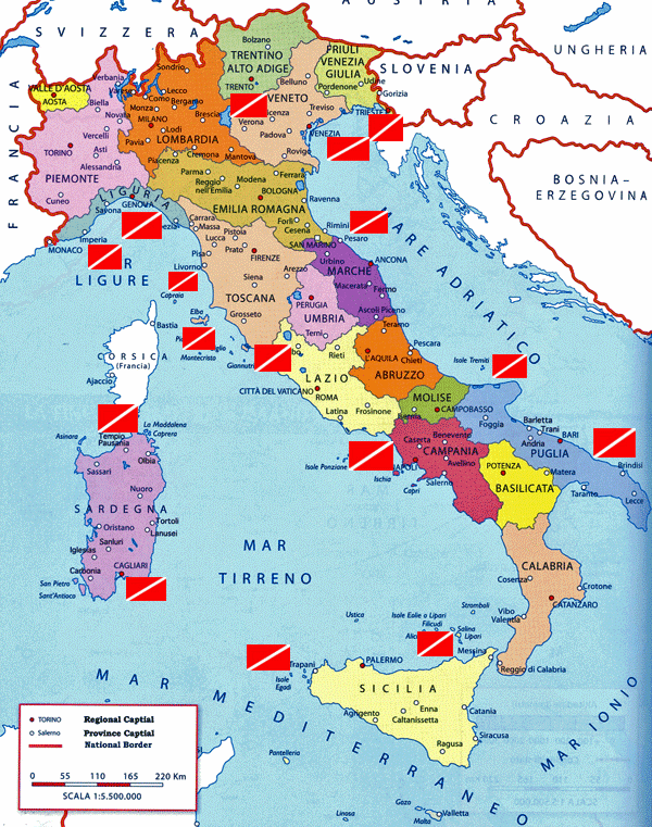 Maps of SCUBA Diving Sites in Italy