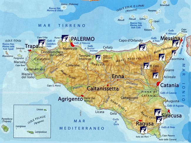 Map of rock climbing sites on the Italian island of Sicily