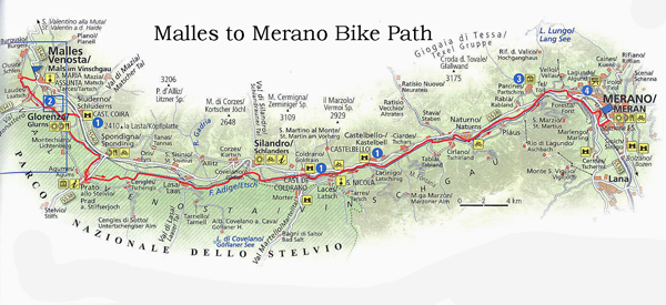 Bike Touring Italy, Val Venosta bike path map