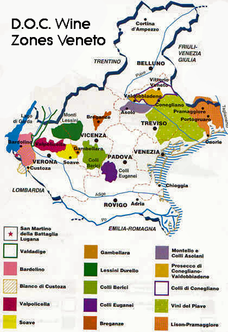 Travel Wine Roads of Italy, Veneto Wine Map