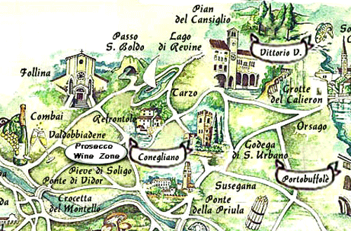 BIke Tour Italy, Prosecco Wine Road Map